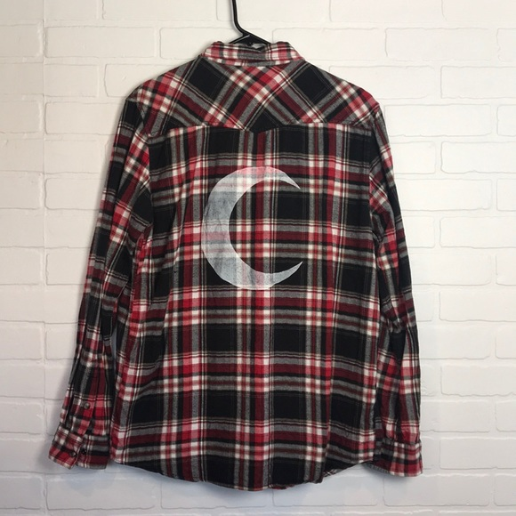 mambo Tops - Crescent Moon Flannel Unisex M Red Black Western